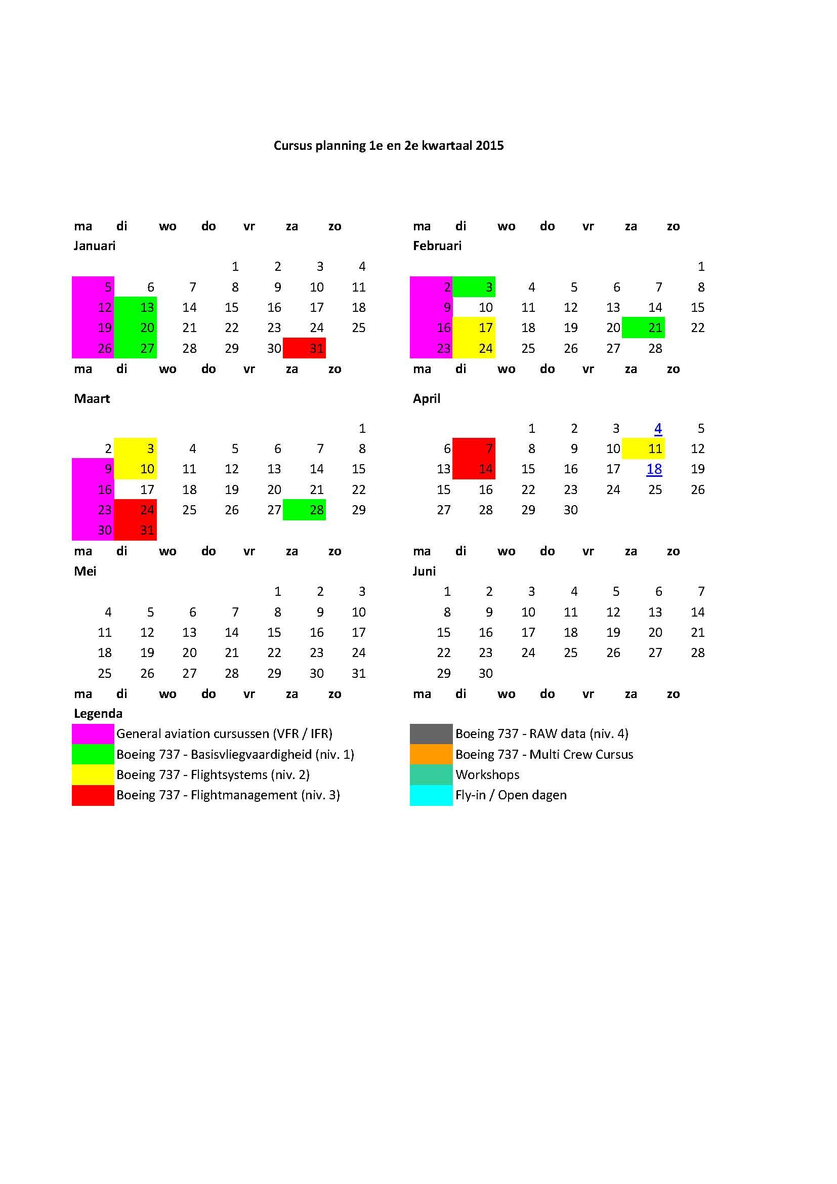 cursusplanning 1e helft 2015